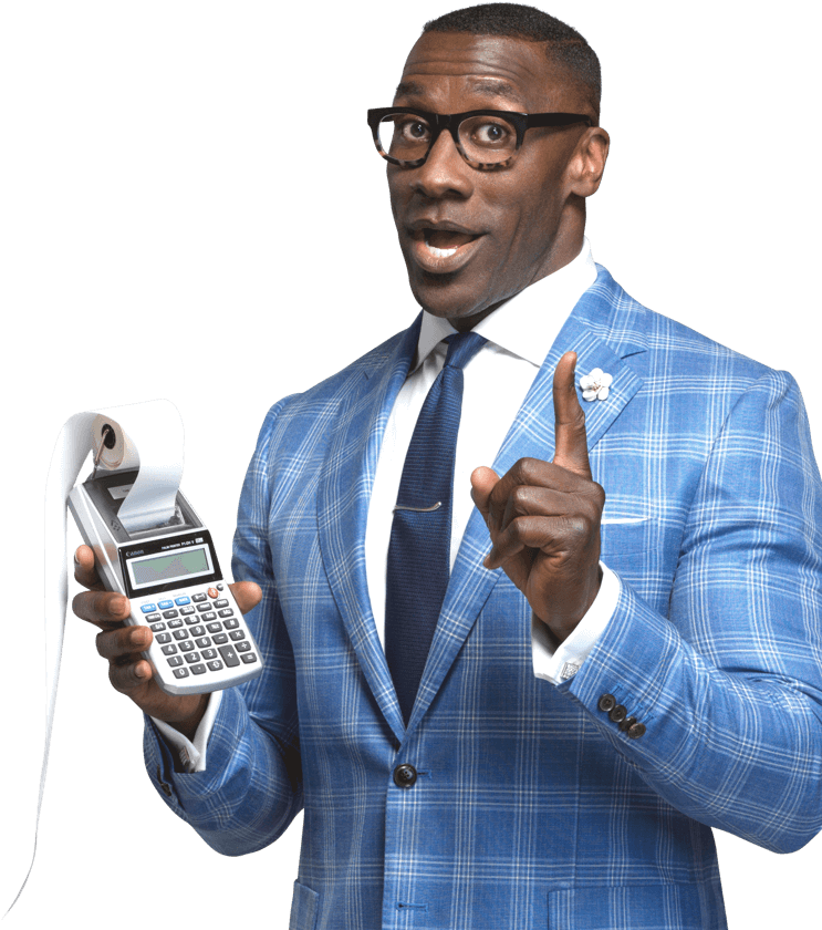 Shannon Sharpe holding calculator
